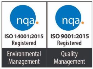 ISO-certifiering 14001 och ISO-certifiering 9001.